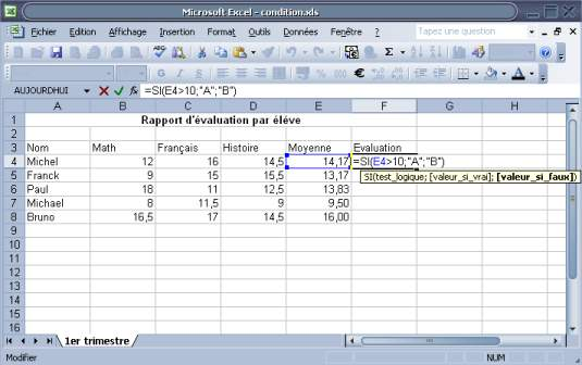 formule conditionnelle sur Excel