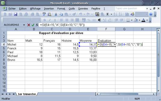 formule conditionnelle test condition sur Excel