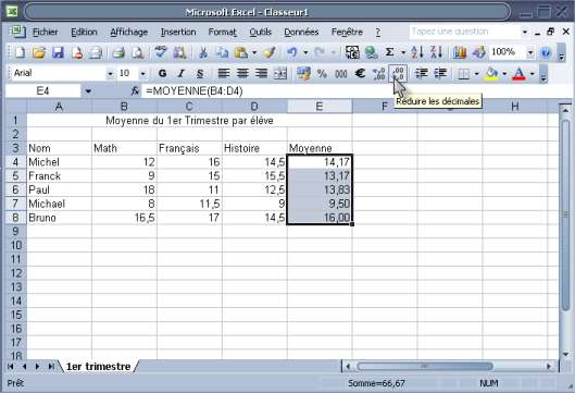 formule simple avec la fonction moyenne excel