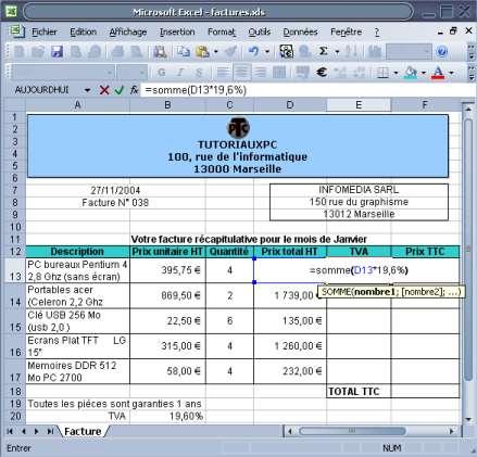 calcul de la TVA sur Excel