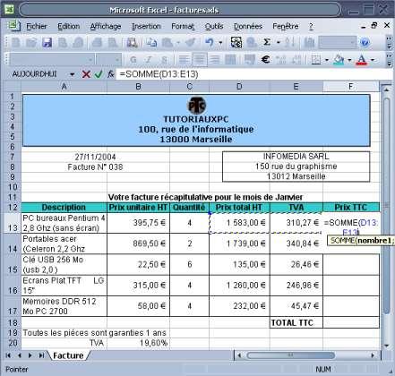 Formule calcul automatique de la TVA