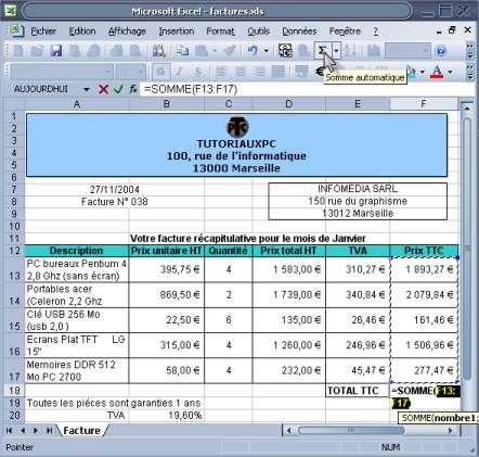 calcul du total ttc sur Excel