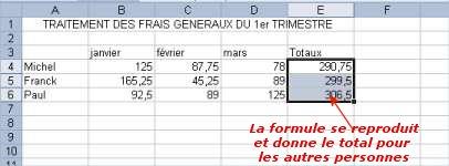 répéter des formules sous Excel