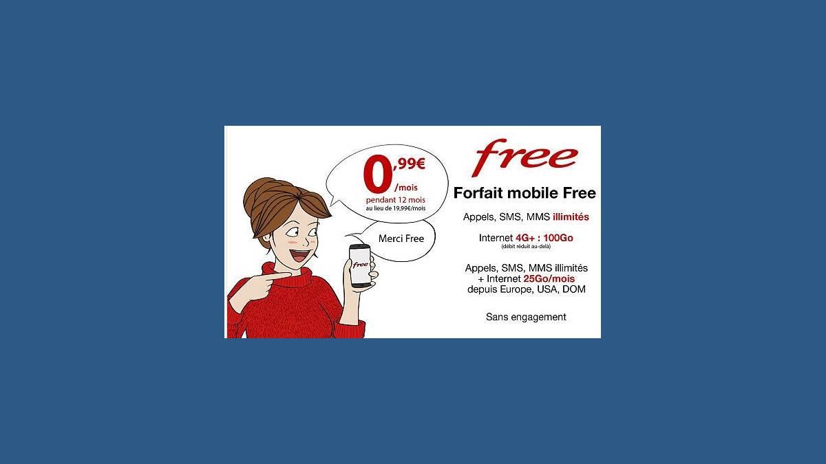 Free Mobile 100 Go en 4G à 0,99 € par mois
