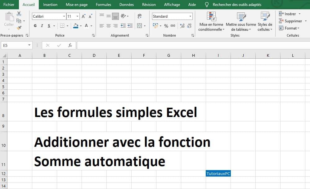 additionner avec la fonction somme automatique sous Excel