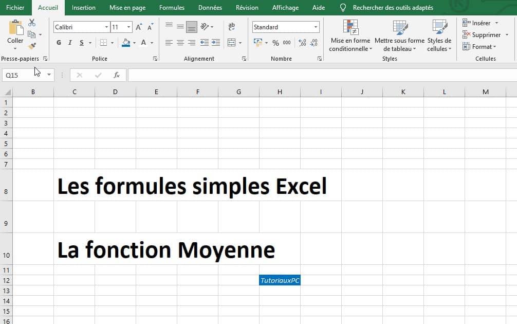 Tableur Excel - Calculer une moyenne dans une feuille de calcul