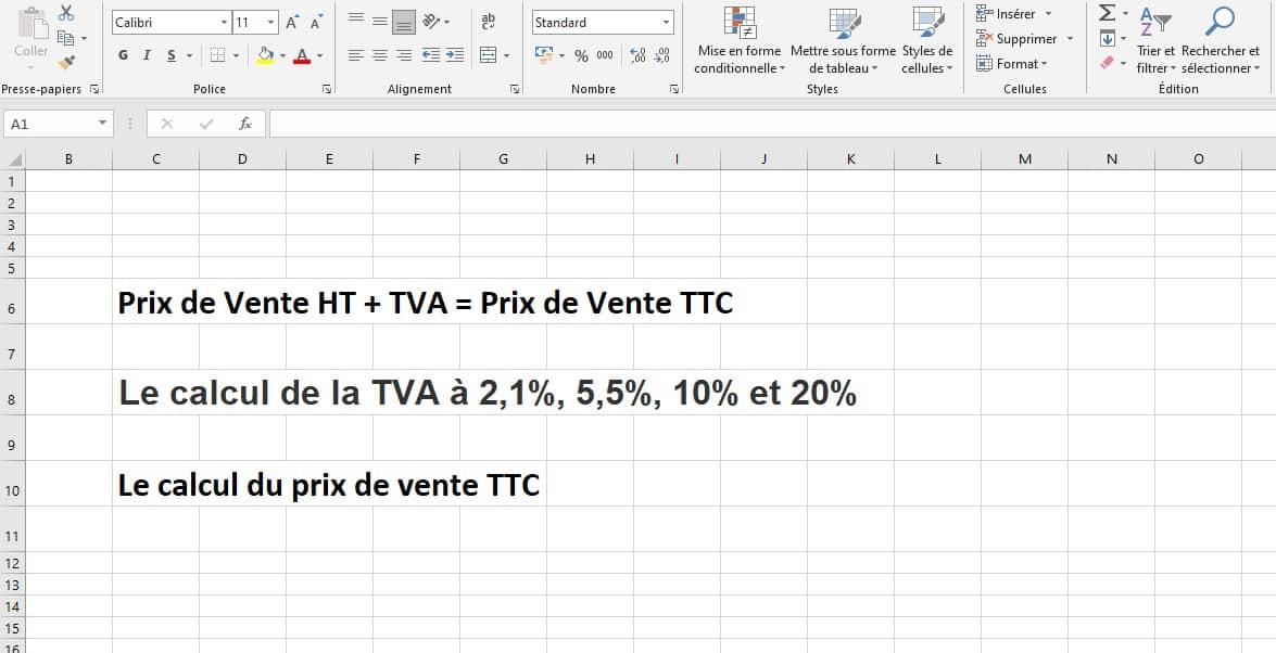 Formule de calcul de la TVA sur un prix de vente HT sur Excel