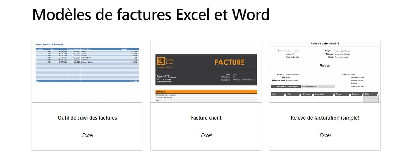 Modèles de factures pour Excel ou Word pour les auto-entrepreneurs