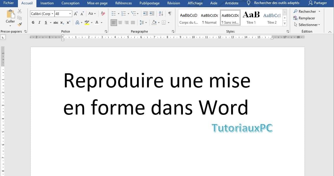 L'outil Reproduire la mise en forme de Word